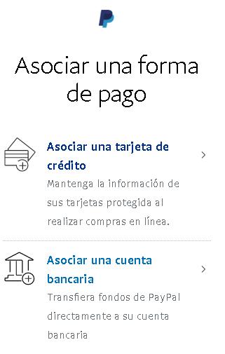 Asociar una forma de pago en Paypal