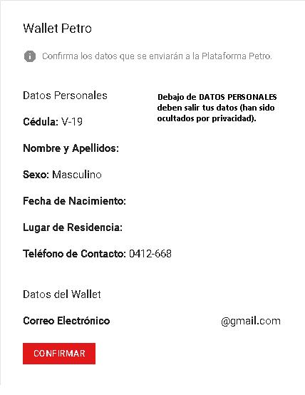 Confirmar lo -datos que se enviarán a la plataforma Petro