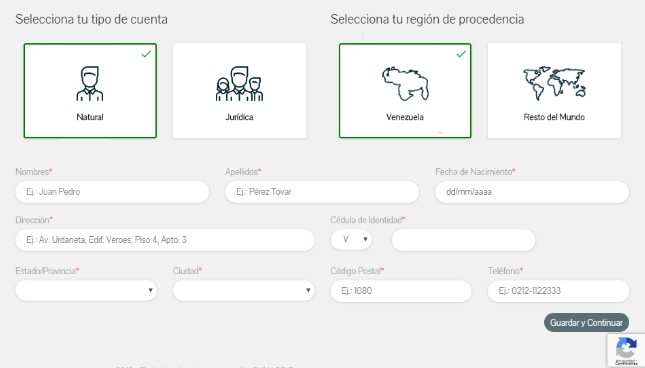 Registrar datos personales PetroApp