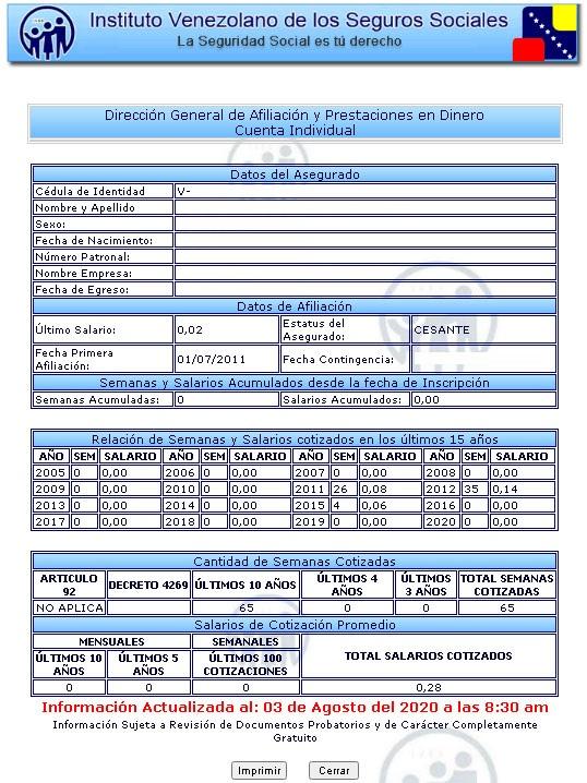 Status de cuenta IVSS