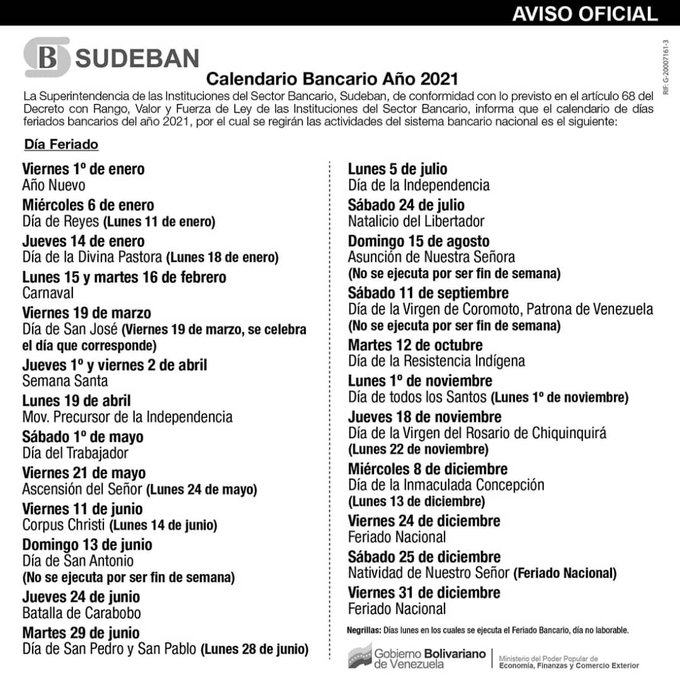 Sudeban calendario bancario 2021